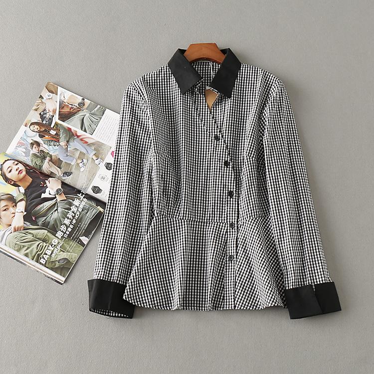 波斯帼 秋女装韩版百搭学生收腰显瘦洋气小衫长袖格子上衣潮