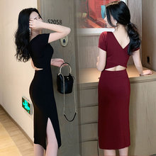2020 summer new style open back sling short sleeve dress women's spring and autumn slim sexy mid long small black dress