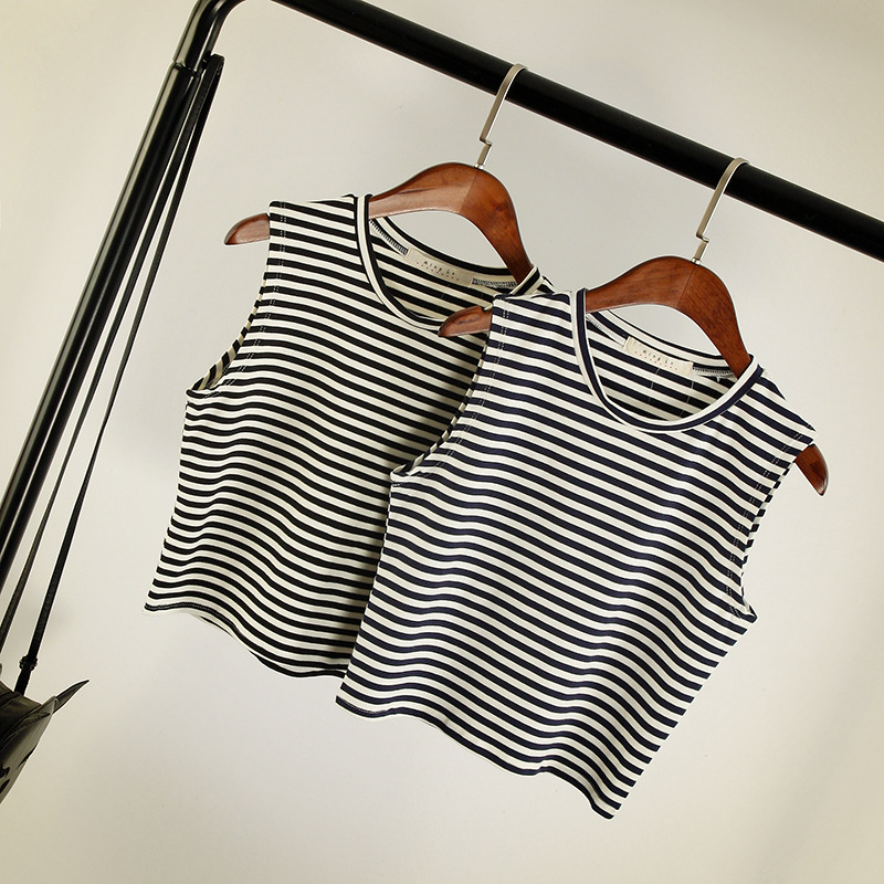 High quality! Summer striped cotton stretch fit tank top for women