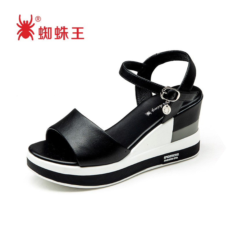 Genuine spider king sandals for womens new summer versatile, simple and fashionable, slope heel, thick sole, brown one line with womens shoes trend