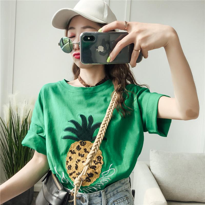 券后79.50元减龄时尚菠萝超火cec短袖T恤2019新款夏装古着感少女港味宽松上衣