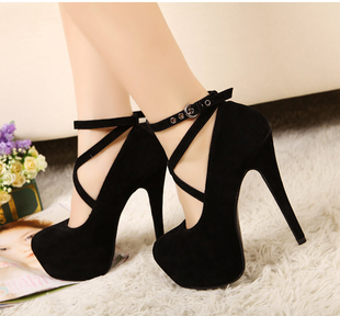 Waterproof OL shoes fashion shoes Spring 2015 new suede fine with the X band hollow super high heels wedding shoes