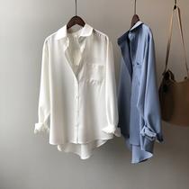 衬衫女2021春季新款韩版宽松纯色气质设计感小众休闲百搭长袖上衣