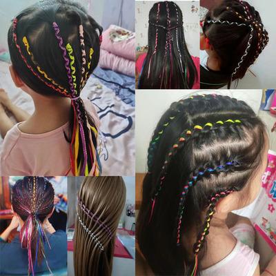 儿童编发彩绳七彩色脏辫发绳女孩辫子彩带扎头辫头绳子丝带头饰品