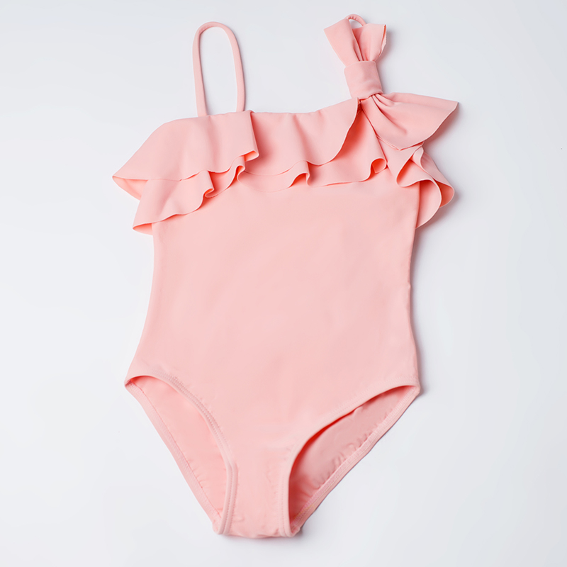 Export girls one piece lotus leaf bow little flower skirt swimsuit Beach Hot Spring swimsuit factory direct sale