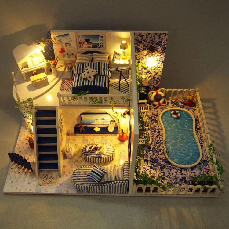 圣托里尼岛diy手工创意 小屋情侣拼装别墅房子建筑模型男生女生