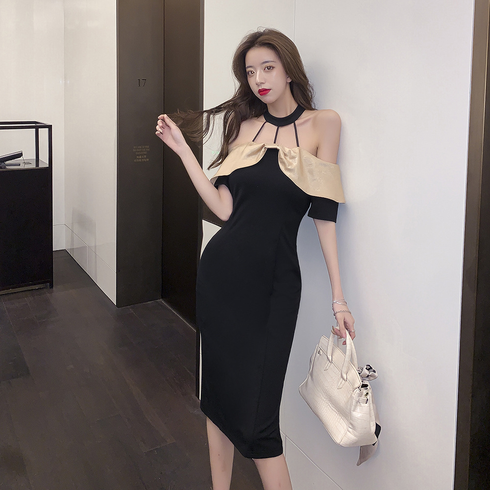 Ntea party dress 2021 new French celebrity neck off shoulder contrast stitching slim fit dress