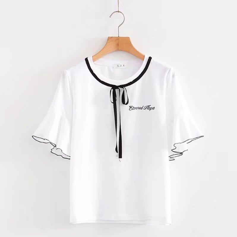 青春文艺学院风洋气少女夏装日系软妹小清新森女荷叶花边短袖T恤
