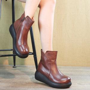 2019秋冬新款女单棉靴休闲松糕底厚底真皮短靴防滑高跟鞋女靴圆头