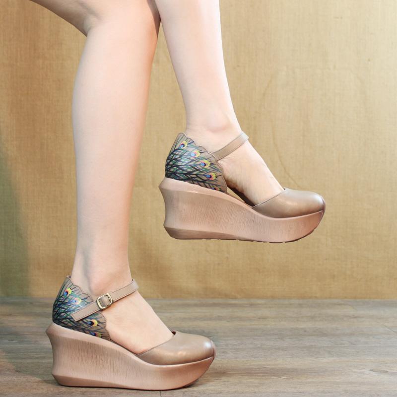 夏季包头民族风真皮坡跟鞋原创凉鞋不包邮