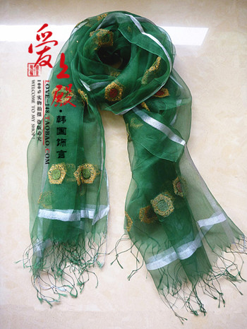 Package mail Korean spring and autumn winter women sunscreen embroidered shawl long silk scarf Eugen yarn scarf national style