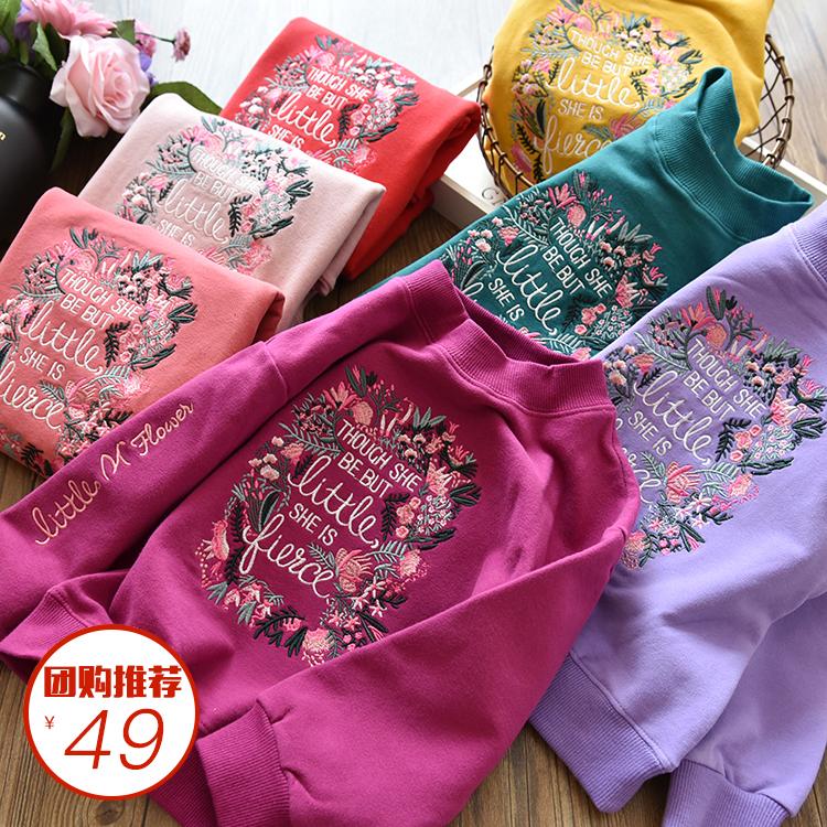 团购促销洋气款女童重工刺绣花朵全棉毛圈卫衣套头衫2019深秋加厚