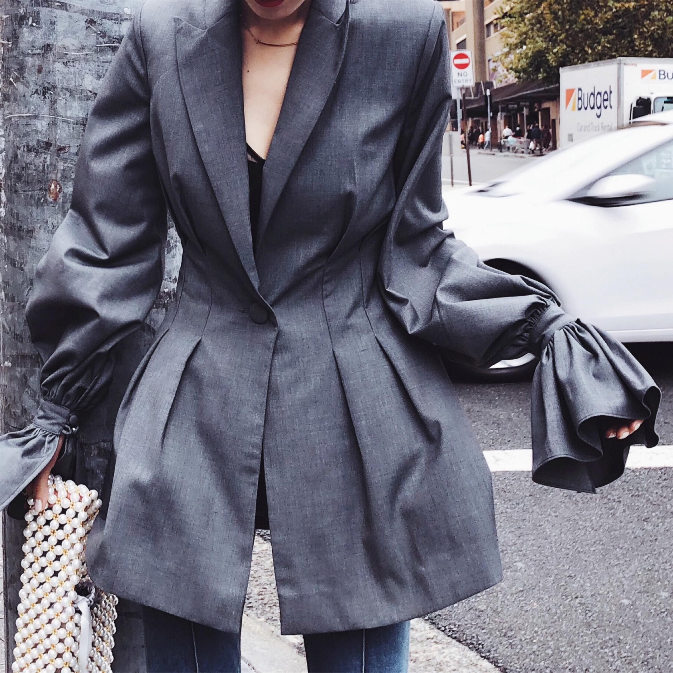 13宜 灰色薄款chic休闲西装外套女韩版中长款春夏季收腰修身