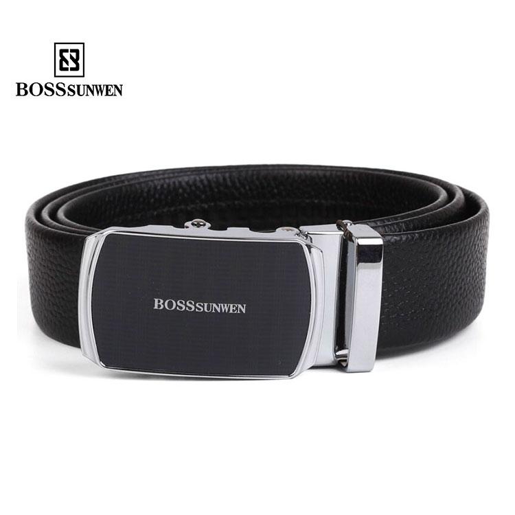 Fashion bossunwen mens belt leather business automatic buckle belt for Dad