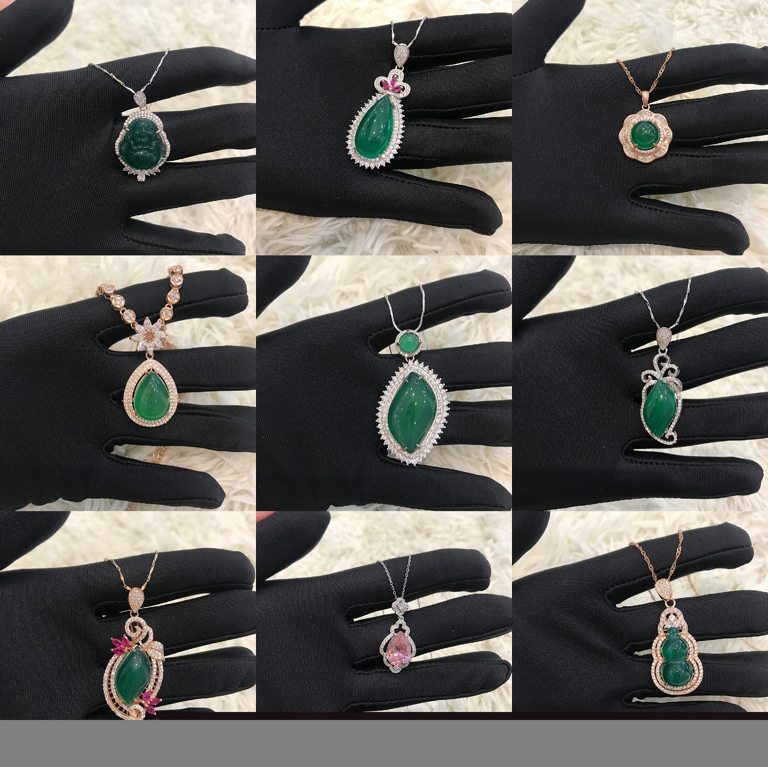 925 sterling silver inlaid with green jade, gem necklace, pendant, simple gift for the elders
