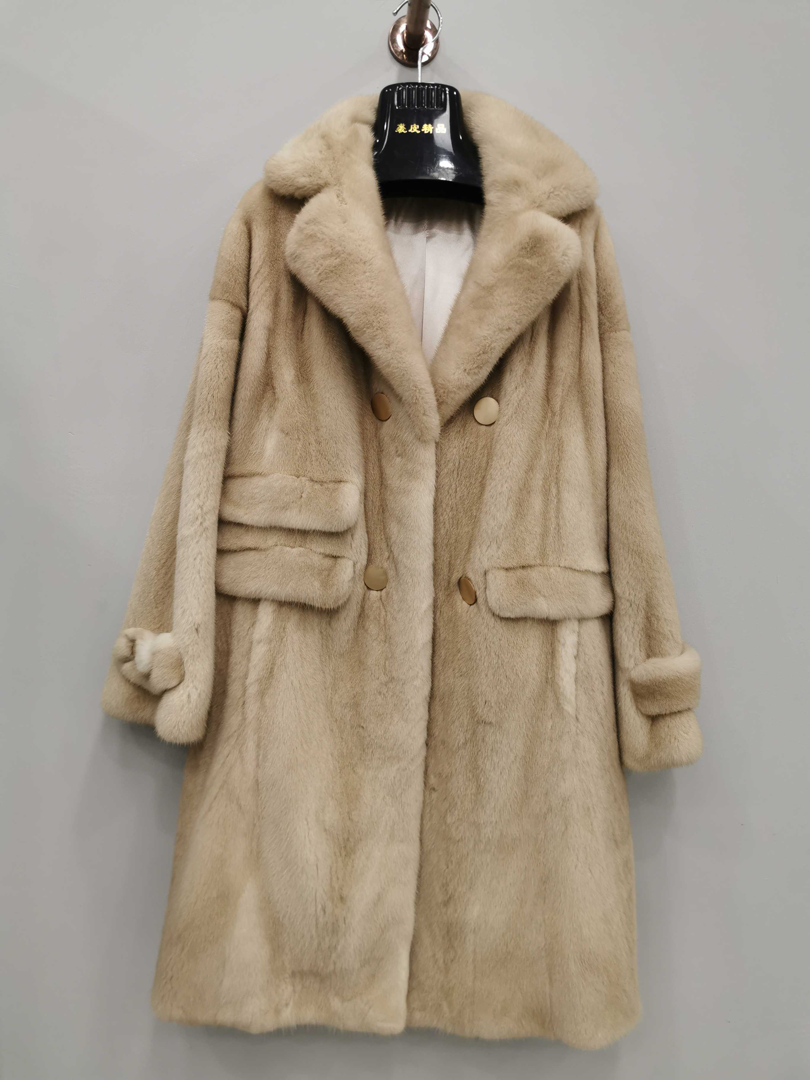 Danish crown velvet suit collar windbreaker long casual versatile womens mink fur coat