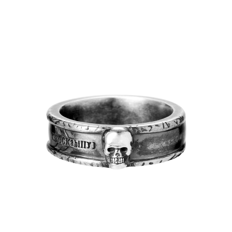 Kaiyi Cai retro skull 925 silver hip hop rock personalized handmade mens ring fashion jewelry hand decorated ring