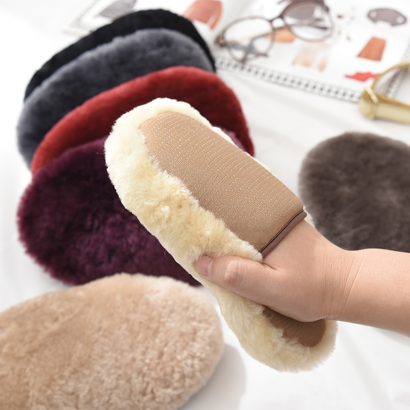 Pure wool sheet fur integrated car and shoe cleaning gloves dust removal maintenance leather car wash paint