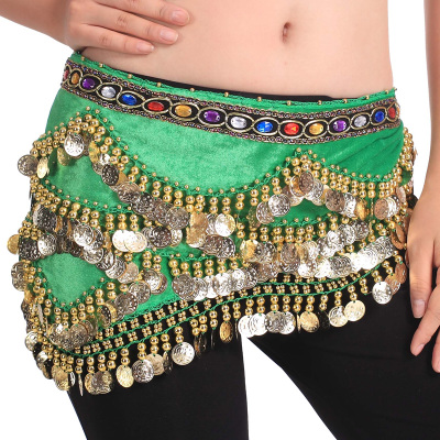 [Jiayu costume] belly dance-328 pieces of gem wave flannel leisure waist chain Y20