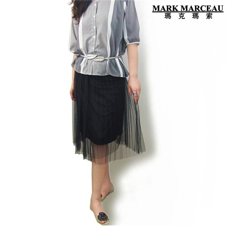 玛克玛索女士松紧腰网纱中长及膝半身裙a字裙减龄显瘦三色可选