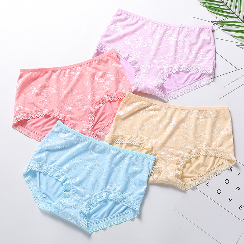 4 pack mail modal bamboo fiber high waist large womens underwear sexy lace transparent fat mm triangle shorts