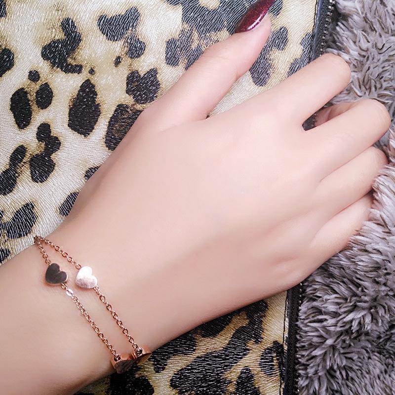 热销5件限时秒杀少女心手链ins小众设计气质超仙双层18k玫瑰金钛钢不掉色手镯手环