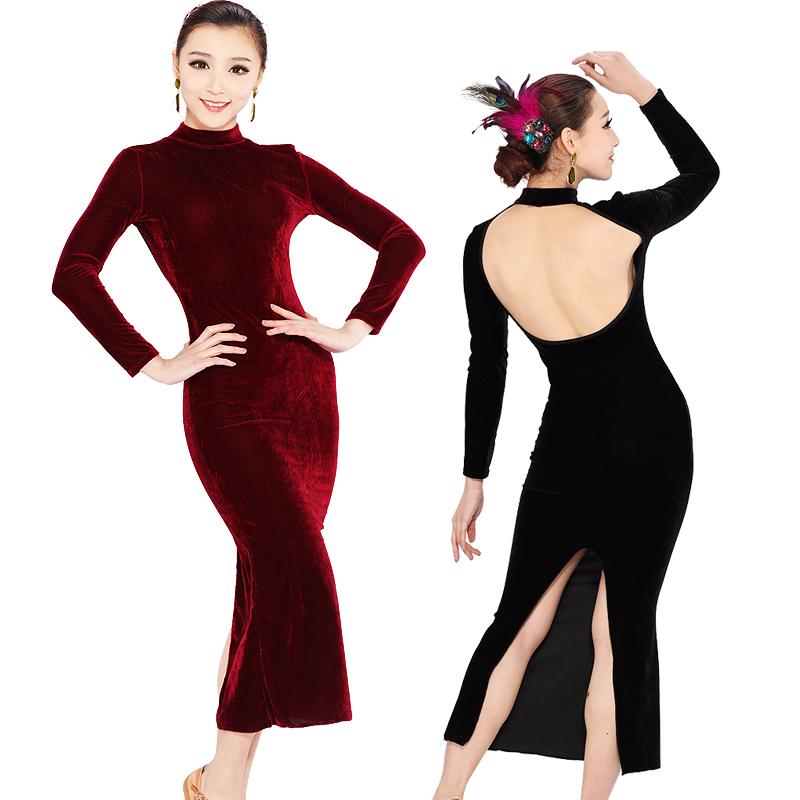 Бархат с длинным рукавом новый современный танец платье латинского танца костюм современного танца, Латинские танцевальные платья с длинными рукавами HB133