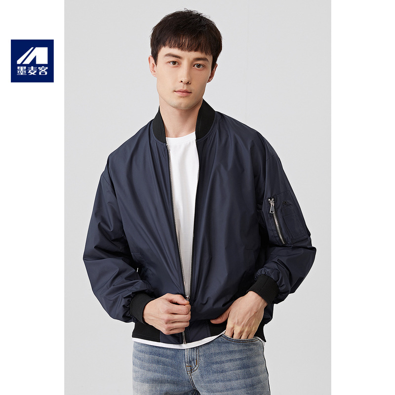 Autumn baseball collar jacket pilot coat sleeve bag handsome long sleeve windbreaker new clean color trendy mens collarless cardigan