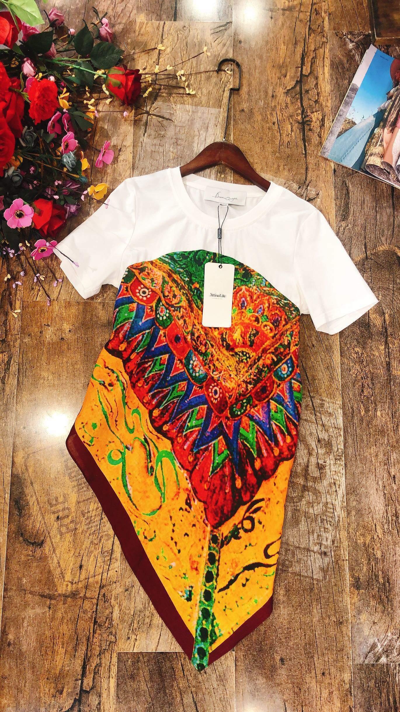 自由的态度原创设计师品牌阿缇娜新款个性拼接不对称露腰半袖T恤