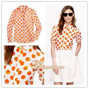 JC US official network synchronization fresh fruit LOGO printed silk long sleeved shirt Value Special