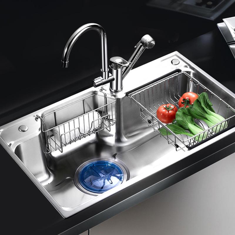 カベの台所の水槽の単溝はとても大きくて、厚い304ステンレスの食器洗いのプールのコースは一体の成型斗です。