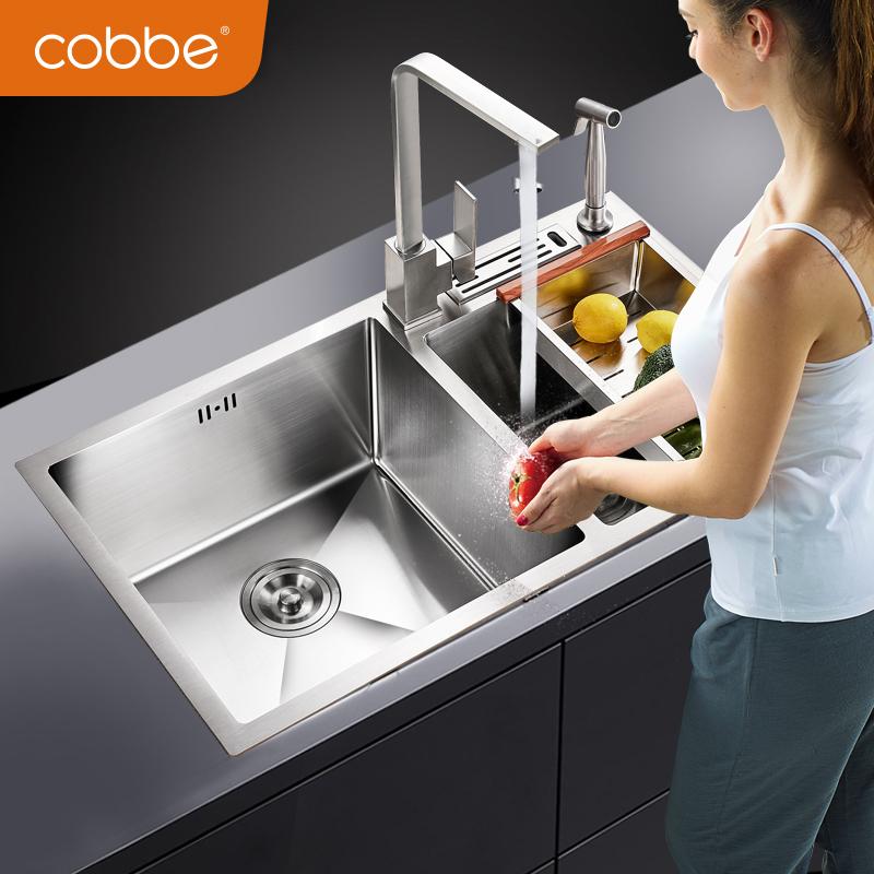 卡贝 手工水槽304不锈钢手工盆加厚水斗洗碗盆厨房水池洗菜盆双槽