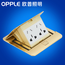OP Lighting Socket Copper Splash water 10-hole damping hidden household five-hole ground panel socket panel