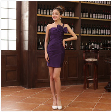 Purple one shoulder butterfly festival small formal attire skirt wedding bridesmaid dresses the annual meeting of the party host short garment bag hip