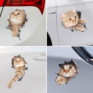 汽车装潢车身贴外饰品可爱猫咪3D立体贴遮痕遮瑕创意个性萌物贴纸