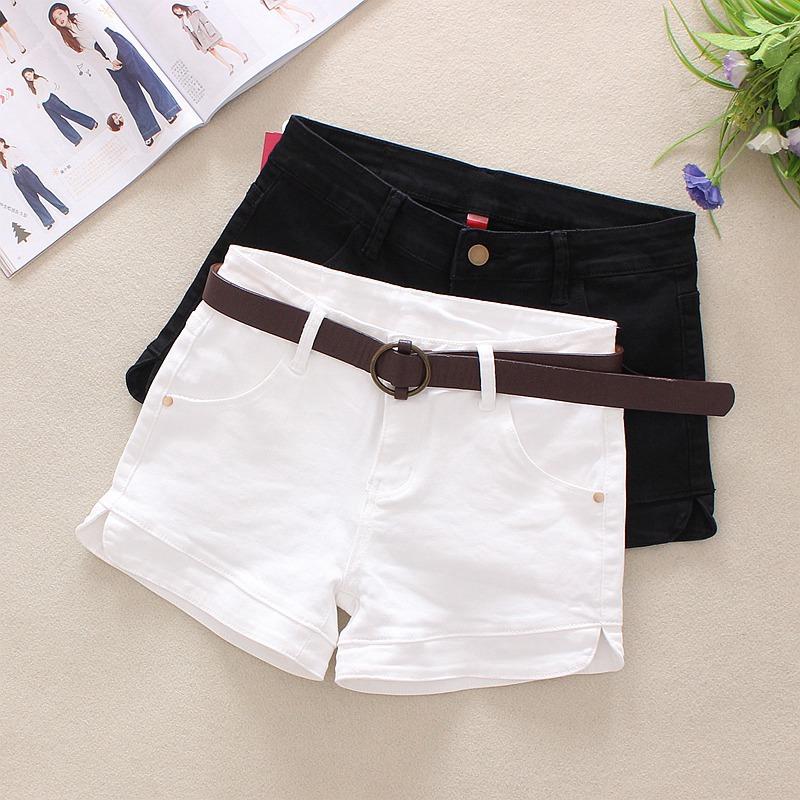 券后55.00元弹力白色牛仔短裤女士夏季韩版显瘦黑色热裤潮修身百搭外穿