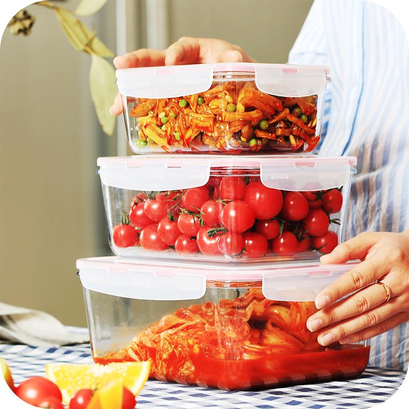3L大号密封盒 耐热玻璃长方形保鲜盒微波炉专用冰箱收纳盒 泡菜盒