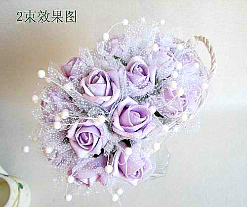 Full package noble light purple yarn edge rose bouquet / 8 pieces to promote sales