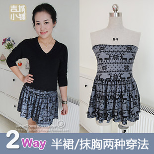 Europe and the original single sweet vintage high waist pleated knit skirts tutu gray autumn and winter deer pattern