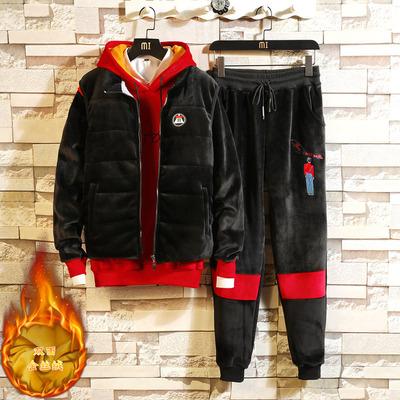 男装三件套休闲套装青年加绒加厚男运动套装卫衣套装冬季D557P158