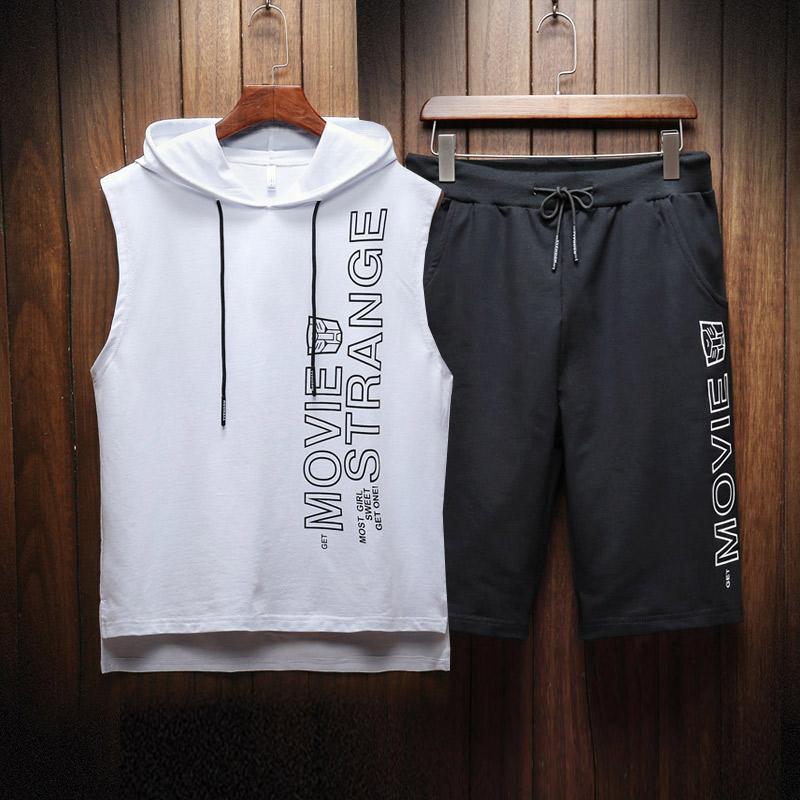 2019夏季无袖T恤运动套装男士运动宽松五分短裤大裆裤D633P48