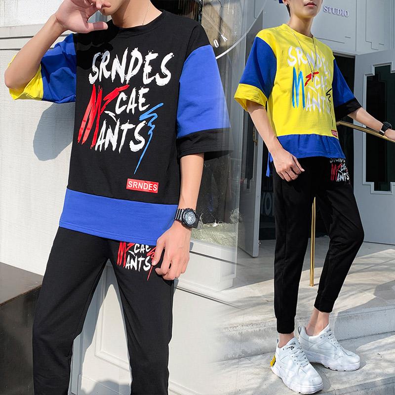 19简洁大方夏男士五分袖t恤韩版潮休闲运动套装半袖九分裤D608P68