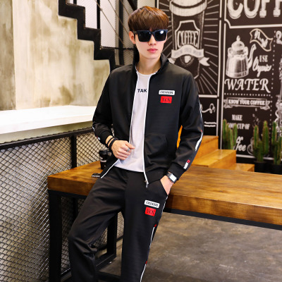2018春装开衫长袖运动套装跑步休闲套装潮款D361P65