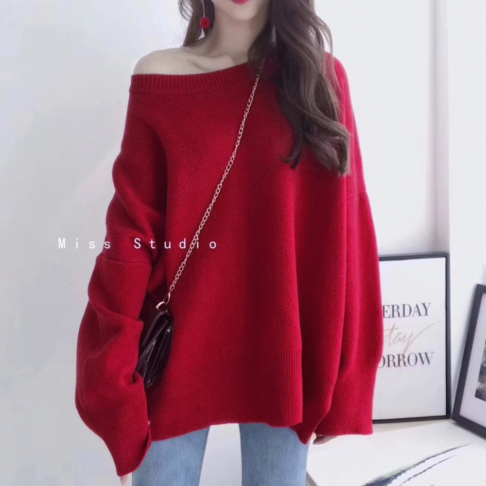 新年红色毛衣女2020冬季套头慵懒风韩版宽松加厚甜美针织衫外穿春