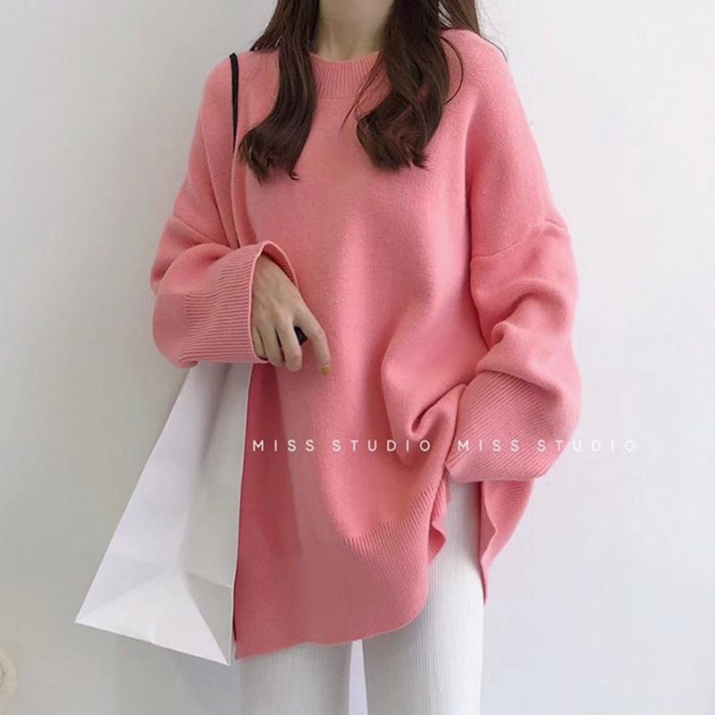 粉色毛衣女2021早春新套头慵懒风韩版宽松圆领针织衫外套上衣百搭