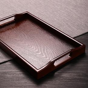 日式仿木塑料长方形茶盘客厅家用仿木质水具水杯茶杯茶具酒店托盘