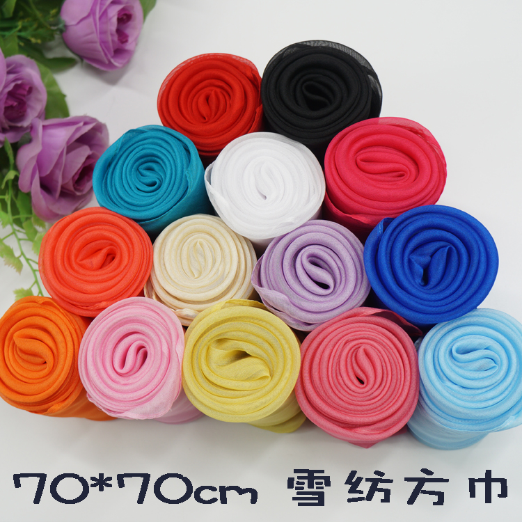70x70 womens Chiffon shawl small square scarves scarves solid women summer sun protection thin
