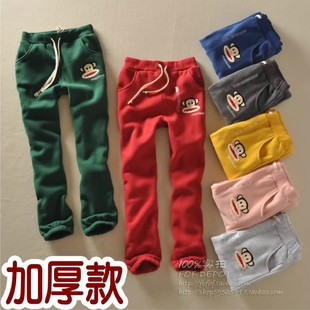 New winter trade cotton terry and fleece sweatpants thick cartoon embroidery casual pants Wei pants pants single