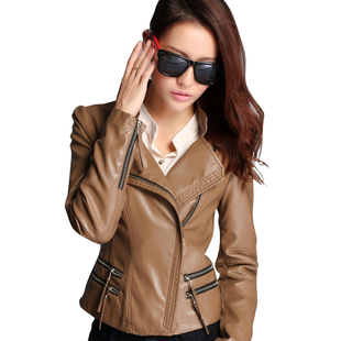 2014 spring new Korean female short paragraph Slim pu leather jacket small coat 1875 new big yards