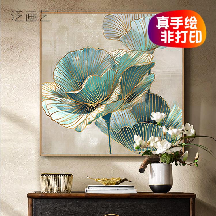 现代简约荷花盛开绽放现代美式单联大幅客厅玄关装饰画手绘油画